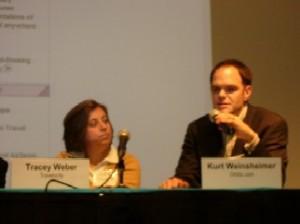 Tracey Weber, Travelocity (l) and Kurt Weinsheimer, Orbitz (r) at WebWatch's 2005 Travel Conference