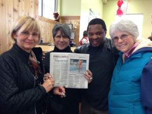 Diane Birmingham and local Boulder-ites deliver petition signatures and a copy of the Boulder Daily Camera op-ed