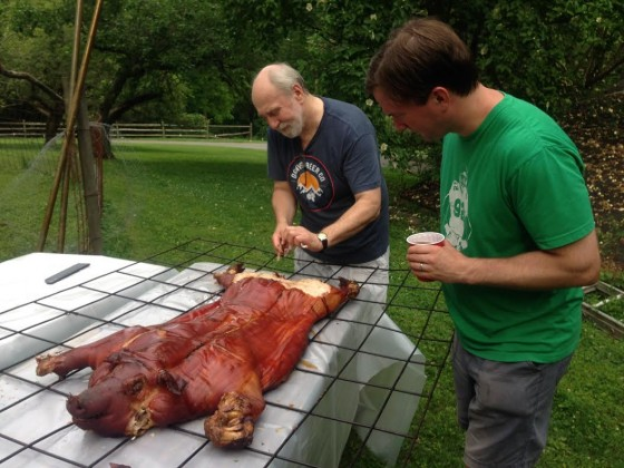 "Fred said: ""We do a pig roast every year.  This year we tracked down a more humanely raised and hormone & antibiotic free candidate.  88 lbs of cracklin' deliciousness!"""