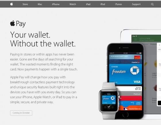Screenshot of Apple Pay landing page on Apple.com
